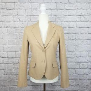 Theory khaki tan slim fit two button pocket blazer